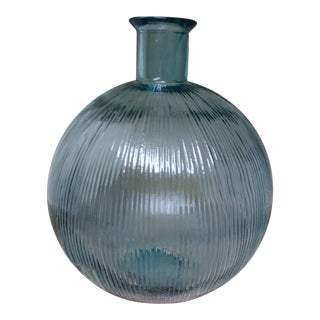 Contemporary Blue Green Ribbed Glass Demijohn Bottle For Sale
