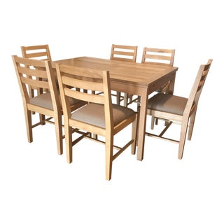 Pine Dining Table and 6 Upholstered Dining Chairs For Sale