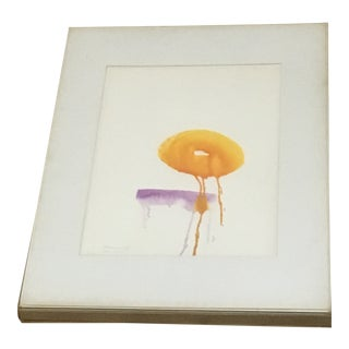 1967 Mid-Century Abstract Watercolor Signed B. Schwartz For Sale