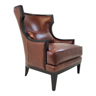 Transitional Thomasville Burnt Sienna Leather Capricorn Club Chair For Sale