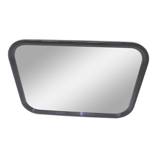 1980s Vintage Henredon Black Lacquer Wall Mirror For Sale