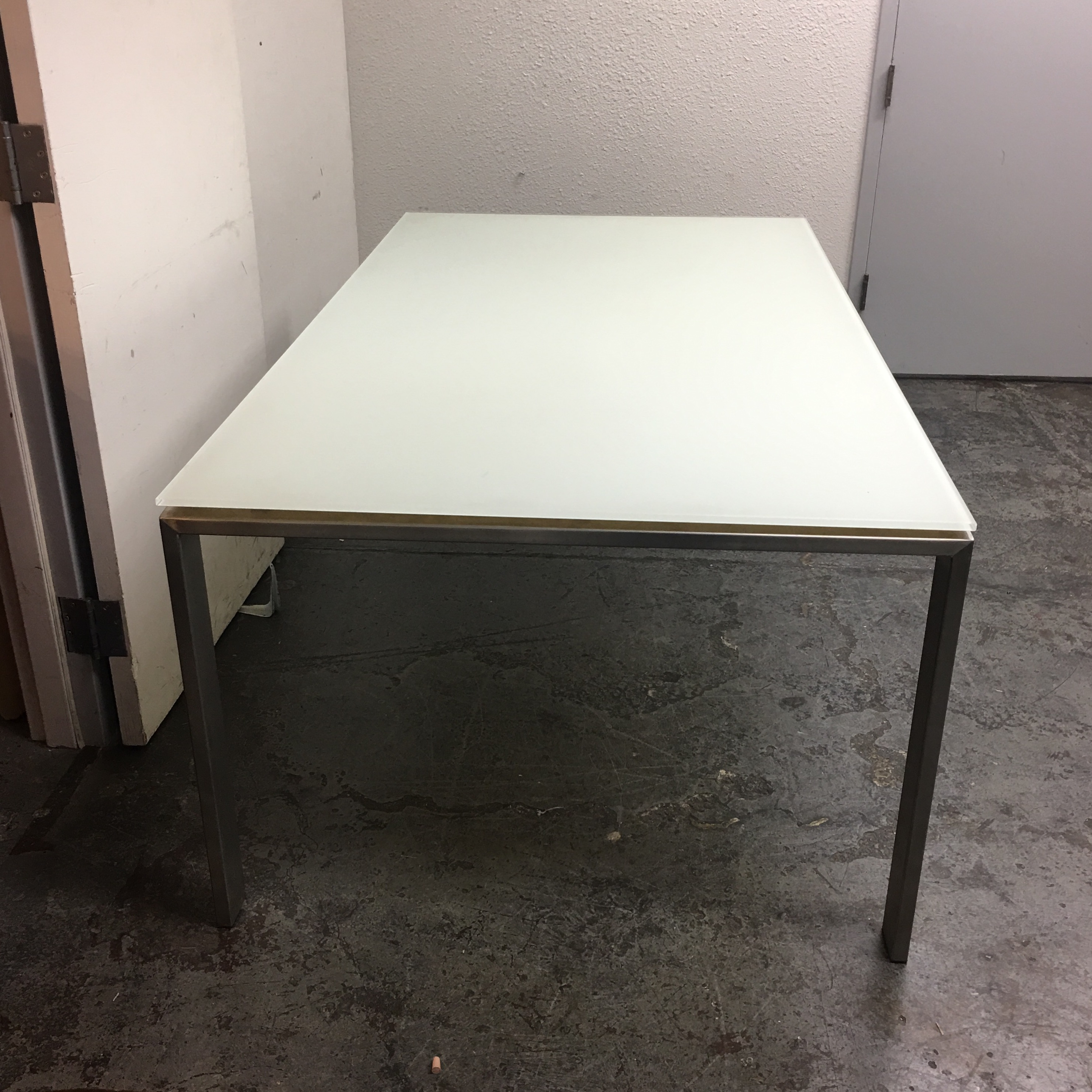 Room Board White Glass Stainless Steel Dining Table Chairish