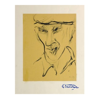 Jean Baptiste Grancher, French Ink Portrait - the Farmhand For Sale