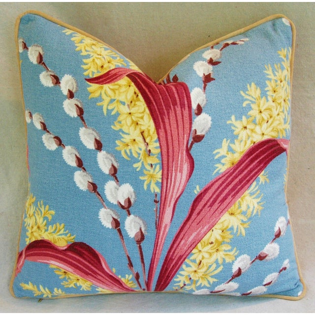 Vintage Tropical Floral Barkcloth Pillows - a Pair - Image 5 of 11