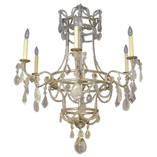 Beaded Six-arm Chandelier with Rock Crystal Accents For Sale