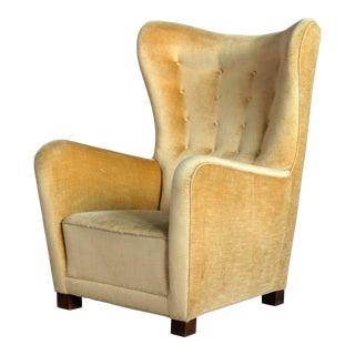 Fritz Hansen Model 1672 Highback Mohair Lounge Chair Danish Midcentury 1940's For Sale