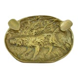 Image of Antique Brass Hound Ashtray For Sale