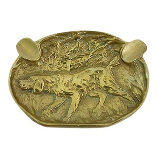 Antique Brass Hound Ashtray For Sale