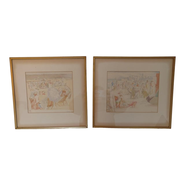 1920 French Nude Beach by Thérèse Lessore Paintings - a Pair For Sale