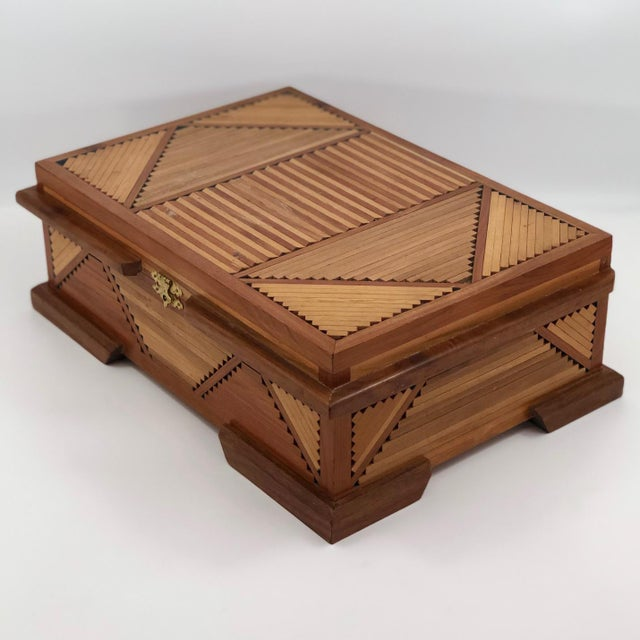 Mid-Century Tramp Art Jewelry Box For Sale - Image 9 of 13