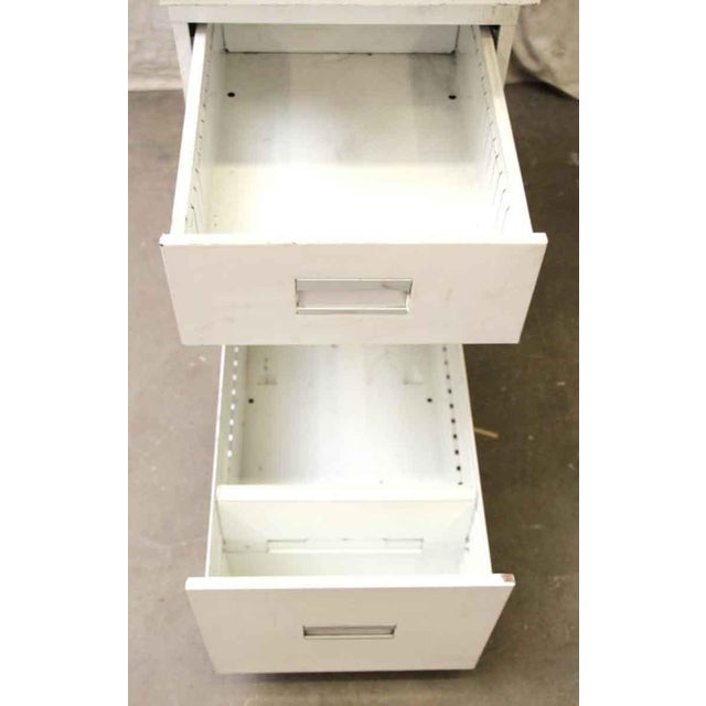 Metal Stackable White Metal Filing Cabinet For Sale - Image 7 of 9