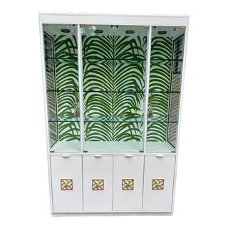 Drexel China Cabinet With Schumacher Paper For Sale