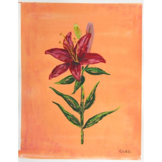 Botanic Asiatic Lilly Floral Chinoiserie Painting by Cleo Plowden For Sale