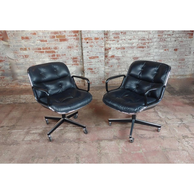 Charles Pollock 1960s Executive Chairs in Black Leather for Knoll - A Pair For Sale - Image 10 of 10