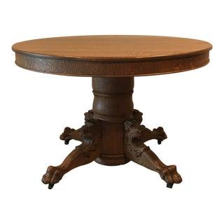 Antique Claw Foot Lions Head Tiger Oak Pedestal Table