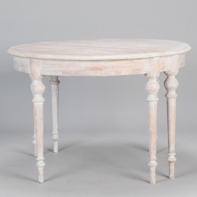 White Painted Demi Lune Tables With Leaf - a Pair For Sale - Image 4 of 6