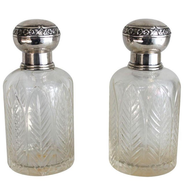 Henri Lapeyre Crystal & Sterling Decanters - Pair - Image 1 of 2