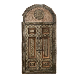 Antique Arquitectural Oriental Window With All Carved Wood With White Metal Inlays. For Sale