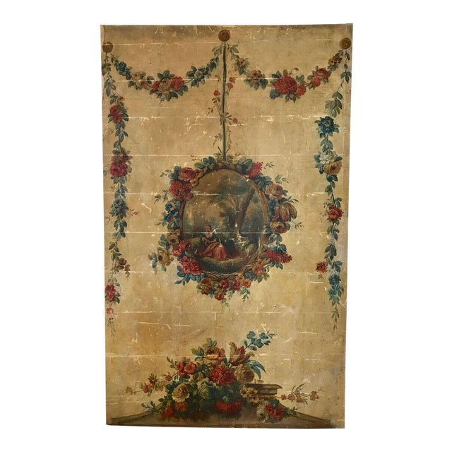 Large 18th Century French Oil on Canvas Wall Panel For Sale