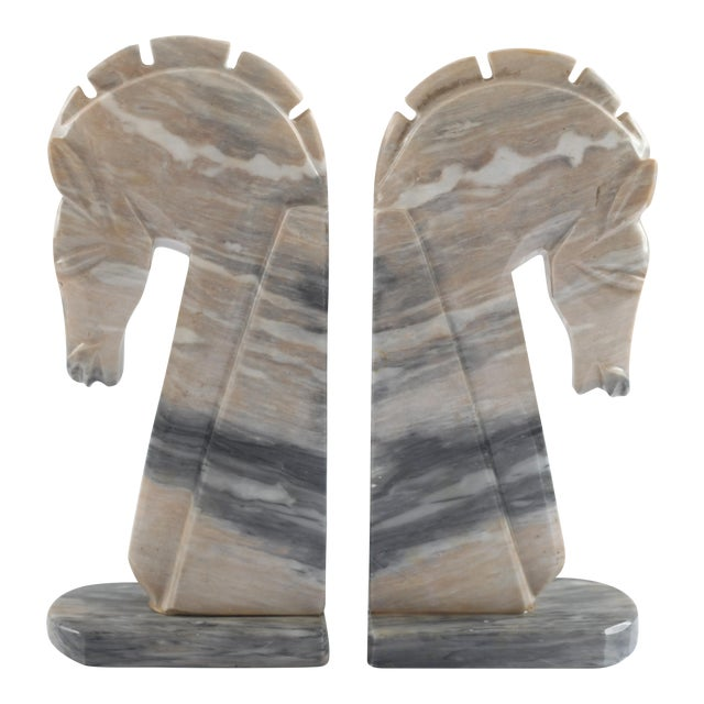 Mid-Century Onyx Horse Head Bookends - Pair - Image 1 of 7