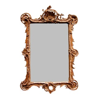An Exuberant French Louis XV Style Carved Giltwood & Plaster Rectangular Mirror For Sale