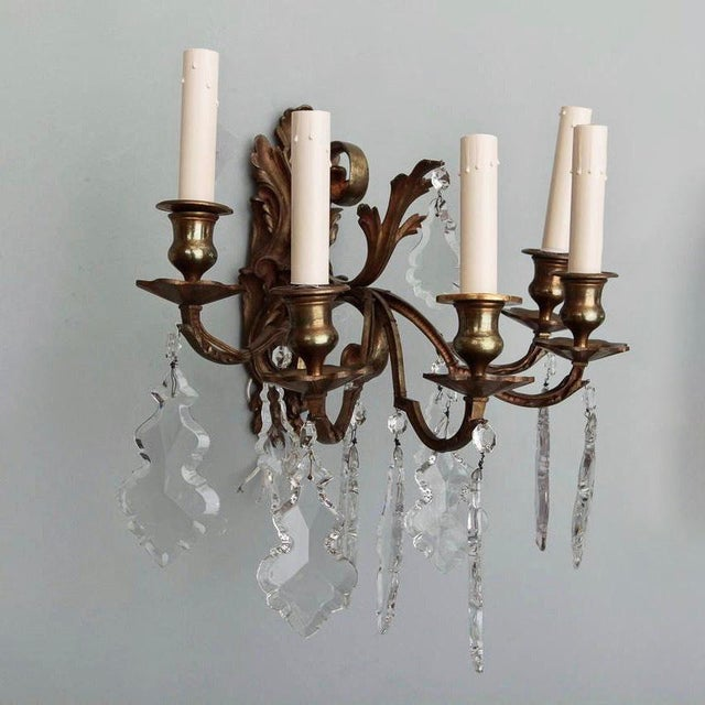 Bronze Pair of French 5 Light Bronze and Crystal Wall Sconces For Sale - Image 7 of 11