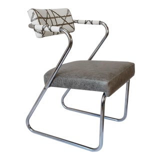 1960s Retro Chrome Gray Leather Chair For Sale