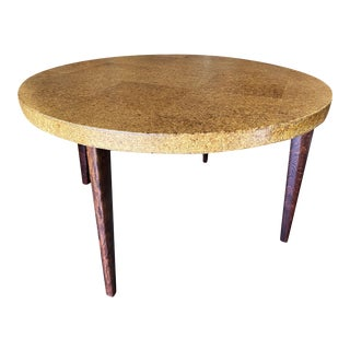 1950s Round Mid-Century Cork Top Dining Table W/ Knife Legs by Paul Frankl For Sale