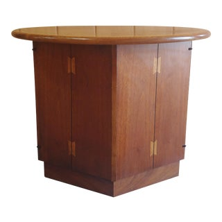 Lane Acclaim End Table W Hexagon Cabinet Base and Round Top Designed by Andre Bus For Sale