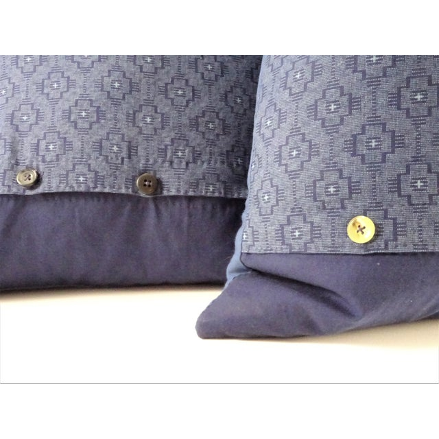 Cotton Asian Style Indigo Tie Die Hand Made Pillows - a Pair For Sale - Image 7 of 10