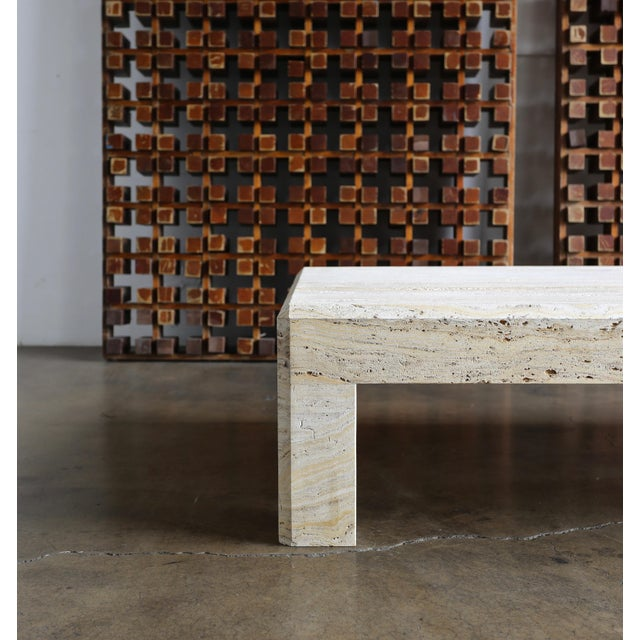 Hollywood Regency Travertine Coffee Table Circa 1980 For Sale - Image 3 of 13