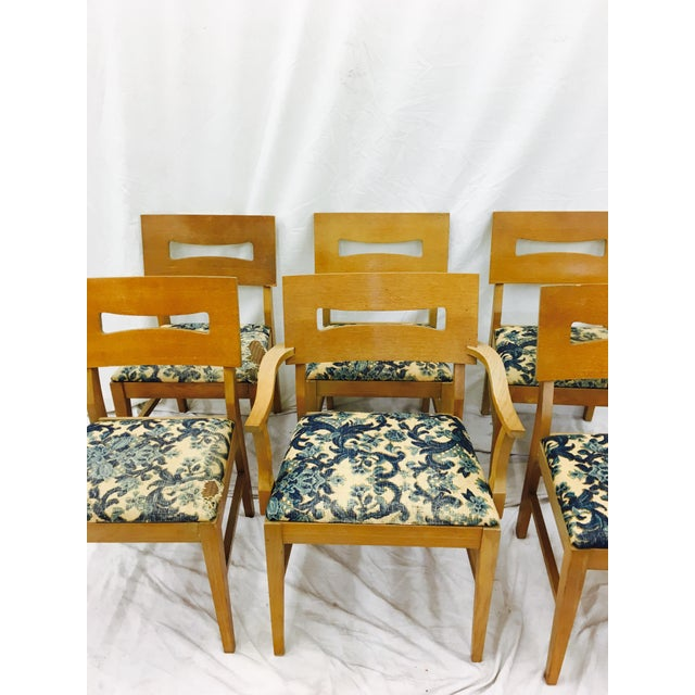 Mid-Century Modern Vintage Mid-Century Modern Square Back Wooden Dining Chairs - Set of 6 For Sale - Image 3 of 9