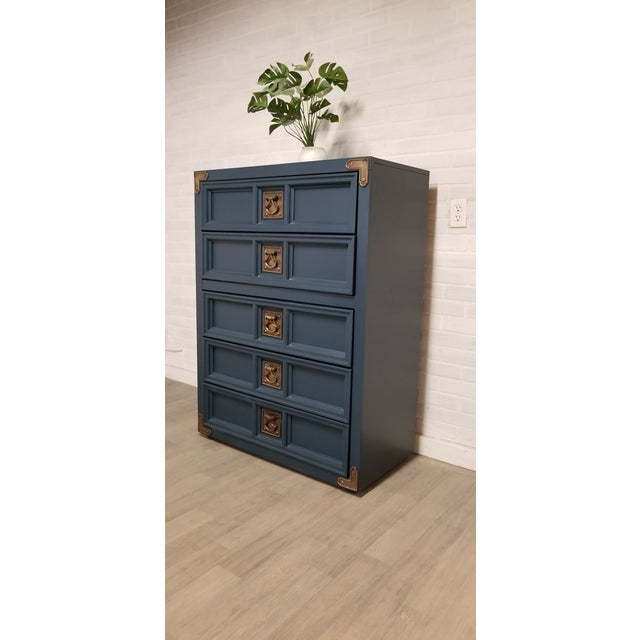 1970s Nautical Navy Blue Chest of Drawers For Sale - Image 4 of 4