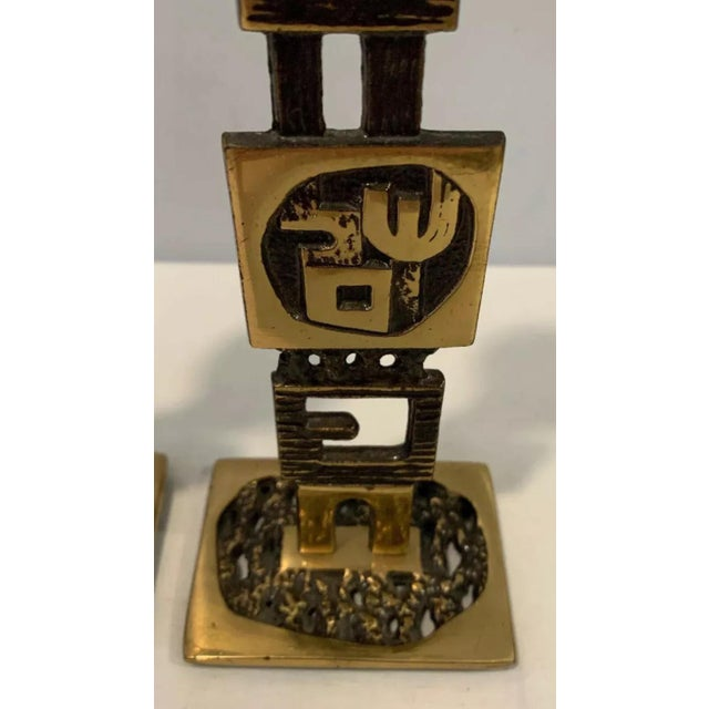 1960s Mid-Century Modern Brutalist Jewish Sabbath or Daily Candleholders - a Pair For Sale - Image 9 of 12