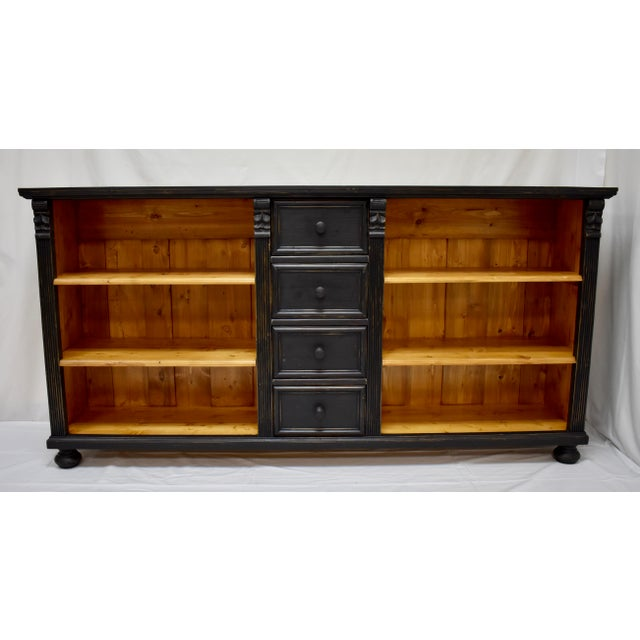 Long Country Pine Bookcase With Four Drawers For Sale - Image 13 of 13