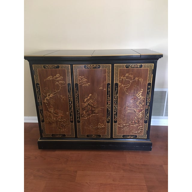 1980s Drexel Heritage Chinoiserie Black Lacquer Buffet Server For Sale - Image 5 of 5