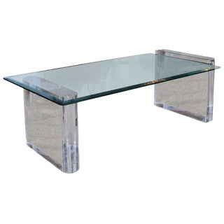 Charles Hollis Jones Lucite and Glass Low Table For Sale