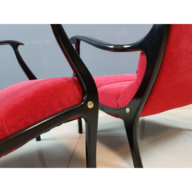 Italian Mid-Century Modern Lounge Armchairs by Ezio Longhi, 1950s Reupholstered - a Pair For Sale In New York - Image 6 of 13