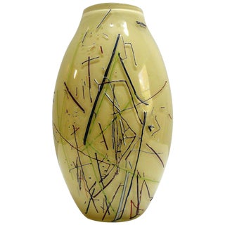 Large Barbini Murano Art Glass Vase For Sale