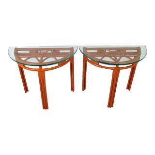 Pair of Rattan Demilune Glass Top Consoles in Hermès Orange For Sale