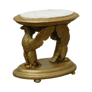 Antique Gilt Wood Carved Winged Eagle Small Marble Top Side Table For Sale