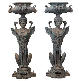 Pair of Tall Patinated Cast Iron Planters Showing Mythical Creatures / Chimere For Sale