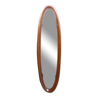 Vintage Molded Teak Frame Wall Mirror For Sale