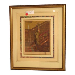 Georgie Barrie 19th C. French Matted Frame Colored Engraving For Sale
