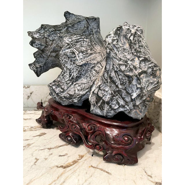 Black Chinese Scholar Stone on Wood Base For Sale - Image 8 of 13