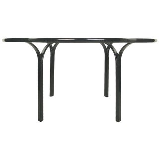 Jay Spectre for Brown Jordan Dark Blue Enamel Metal Dining Table For Sale