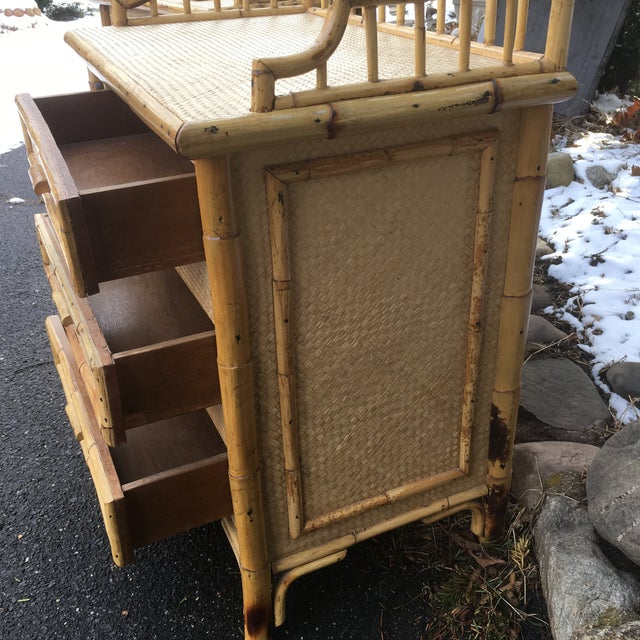 1970s Boho Chic Rattan Calif Asia and Cartel Nightstands - a Pair For Sale In New York - Image 6 of 10
