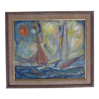 "1955 ""Sea Story"" Painting by Merton D Simpson For Sale"