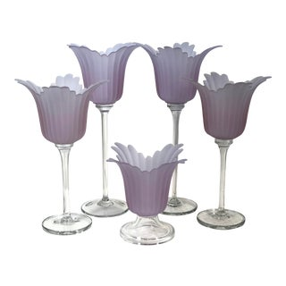 Flower Candle Holder Glass - Set of 5 Lavender Vintage 5 Pc For Sale