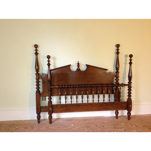 1950s Pennsylvania House Chippendale Four Poster Solid Cherry Double Bed Frame For Sale - Image 5 of 5